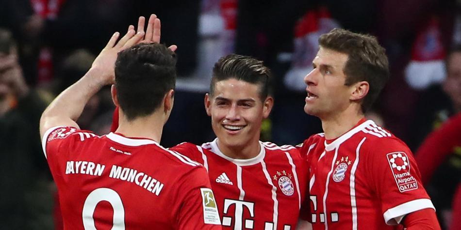 Noche redonda de James en la goleada del Bayern 6-0 sobre Dortmund