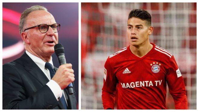 """Karl-Heinz Rummenigge: """"Estoy convencido de que James va a jugar para el Bayern la próxima temporada"""""""